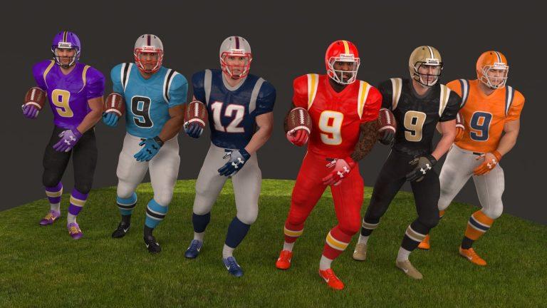american football team 3d models